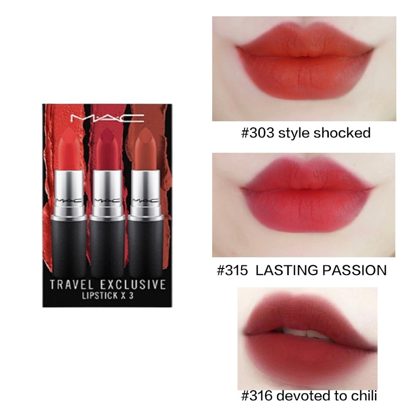 MAC 魅可 红色唇膏三支装 (#style shocked#LASTING PASSION#Devoted to chili)3g*3