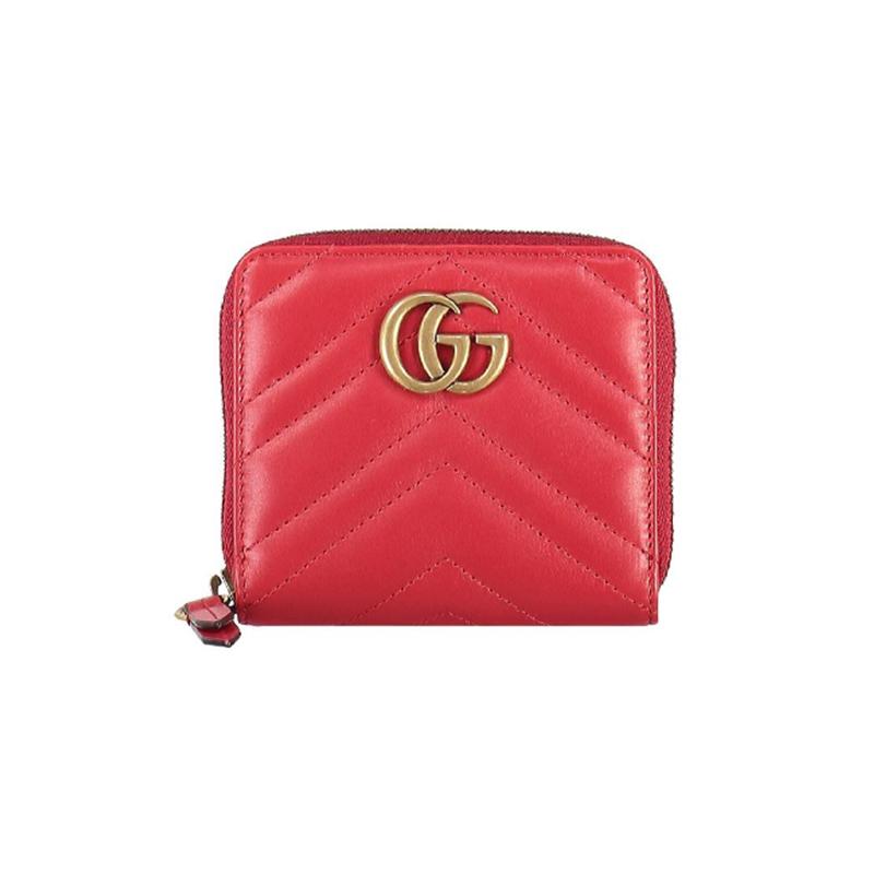 Gucci 古驰 女士牛皮绗缝拉链短款零钱包 红色