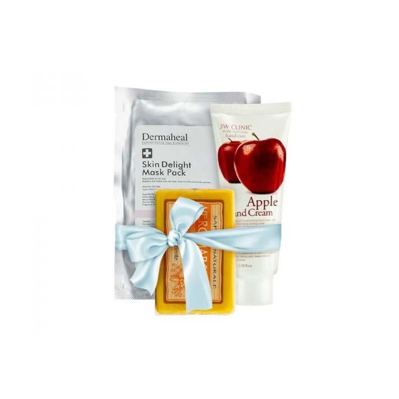 Dermaheal 德玛丽 护理套装(提亮面膜 22g+3W诊所 护手霜 #苹果 100ml+内斯蒂丹特 天然香皂-蜂蜜 150g)